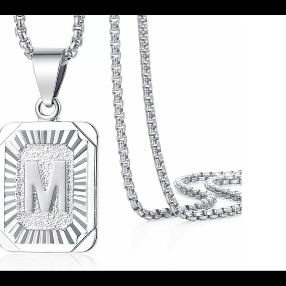 """White Gold Filled Letter M Pendant 20"""" Necklace"""